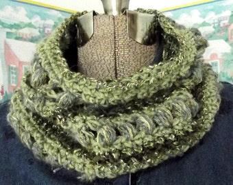 Handmade Crochet Cowl Collar Scarflet Green Sage Olive Herb Garden