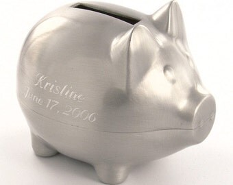 Piggy Bank, Pewter, Personalized with Engraving