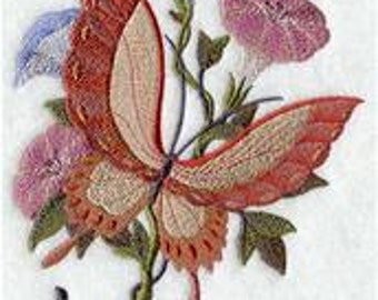 6 pc SET  BATh towels Embroidered Oriental Butterfly - Love