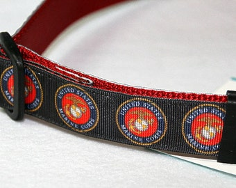 Marines Adjustible Ribbon Dog Collar, with Optional Leash
