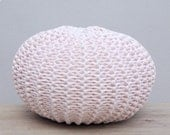 Items similar to Knitted Pouf, Round Floor Pillow, T-Shirt Yarn Zpagetti, Cou...