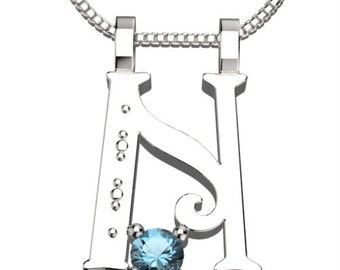 "BirthStone Letter N March Aquamarine 925 Solid Sterling Silver Pendant &18"" Necklace"