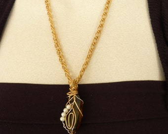 Wire wrapped Smokey Topaz Pendant/ Chain necklace/ Statement necklace
