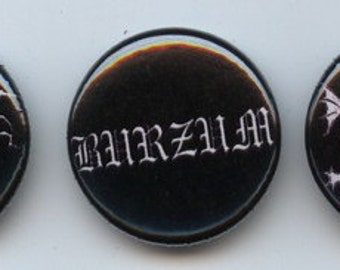 "Three black metal 1"" pins Burzum Mayhem Darkthrone pinback button"