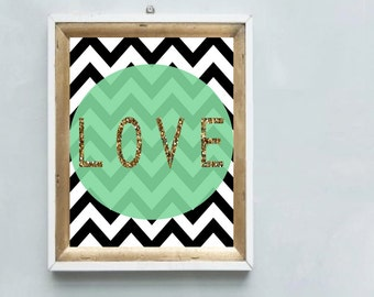 A gorgeous printable LOVE art print chevron monochrome with gold glitter & mint green