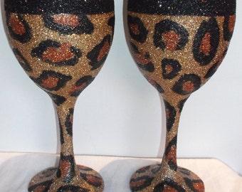 Hand decorated, Glitter wine glasses, leopard, zebra, spiked etc....