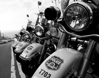 Philadelphia Police Motorcyle Black and White Photograph Print