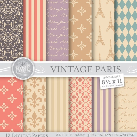 Paris digital paper vintage paris theme printable pattern for Themed printer paper