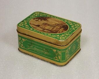 beautiful tin box 50s, vintage metal box