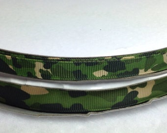 """3 Yards of 3/8"""" Green Military Camouflage Grosgrain Ribbon"""