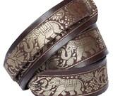 Thai Elephant Brown Handmade Leather Guitar Strap