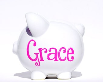 """Personalized White Ceramic Piggy Bank - Hand Painted  - large size (8"""" X 7.5"""" X 7"""")"""