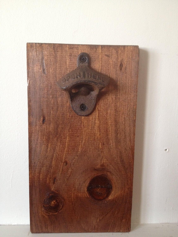 rustic wall mount wood bottle opener. Black Bedroom Furniture Sets. Home Design Ideas