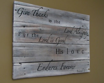 Hand painted Wooden sign with scripture, Jeremiah 33:11