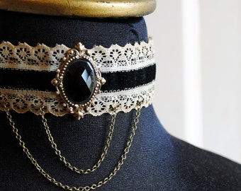 Gothic Victorian Choker with Black Crystal,Steampunk Black and Beige Lace Choker-Ready to Ship