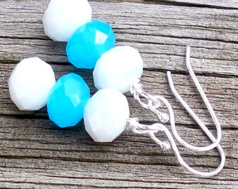 Meille - Blue and White Faceted Glass Rondel Sterling Silver Beaded Dangle Fish Hook Earrings - Bridal, Bride, Something Blue