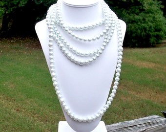 Emily - Long Versatile 10mm White Pearl Beaded Necklace - Can Be WORN MULTIPLE WAYS - Bride, Bridal, Wedding