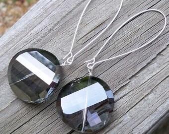 Zania - Long GORGEOUS 30mm Round Light Violet Gray Czech Glass Silver Dangle Kidney Hoop Earrings