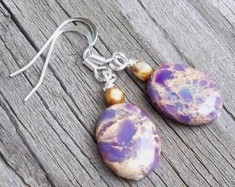 Laeya - 16mm Oval Purple Imperial Jasper Amethyst Gemstone Silver Fish Hook Dangle Earrings