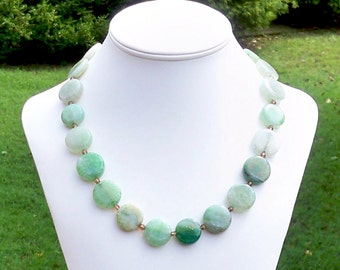 Cartera - Chunky 20mm Round Green Fire Agate Gemstone Beaded Necklace