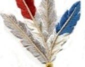 FEATHER red white blue and gray  transfer, applique, Iron on patch or Sew On patch by Cedar Creek Patch Shop