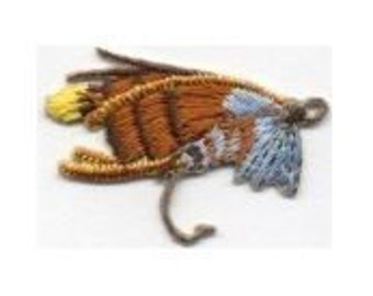 Fly fishing FISH HOOK Fishing Hook Iron On Patch Fish Hook With Feathers Iron or Sew on Patch Fishing Patch by Cedar Creek Patch Shop