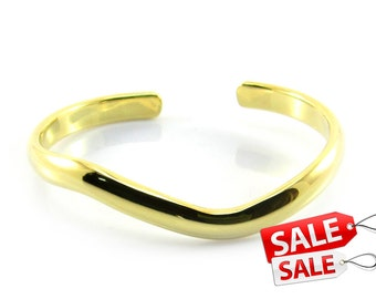 Gold Cuff Bracelet Gold Bracelet Cuff Gold Brass Cuff Bracelet Gold Brass Bracelet Cuff Gold Curve Bracelet Cuff Curve Cuff Bracelet 036