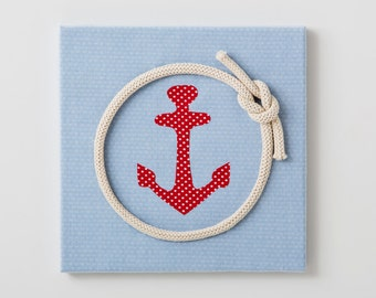 Anchor 3D wall art ,kids nautical art in red and blue