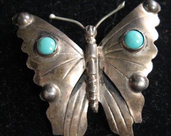 MEXICAN SILVER BUTTERFLY Pin Turquoise Colored Decoration Mg 925 Sterling Silver epsteam Vintage Brooch Pin