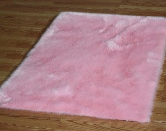 4 X 6 Baby Pink Faux Fur Rug Non Slip Washable Great For
