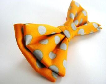 Orange Polka Dot Dog Bow Tie. Small Medium Large Removable Bowtie