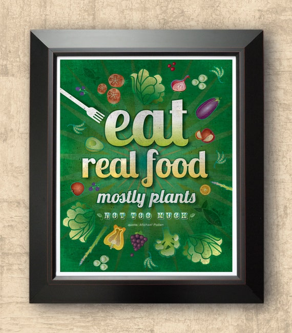 Eat real food vegetarian art organic food typographic for Another word for food decoration