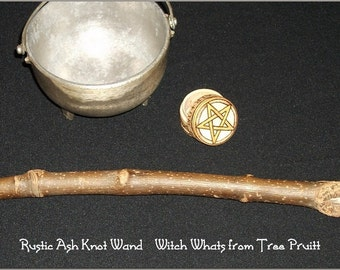 Twin Quartz Crystal Tipped Ash Wood Wand for Wicca and Shamanic Ceremony