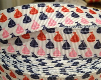"""7/8"""" Preppy NAUTICAL Pink Red and Navy Sailboat on White Grosgrain Ribbon sold by the yard"""
