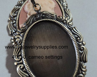 40mm x 30mm antique gold cameo cab settings with bails scroll BS11 2 pcs lot l