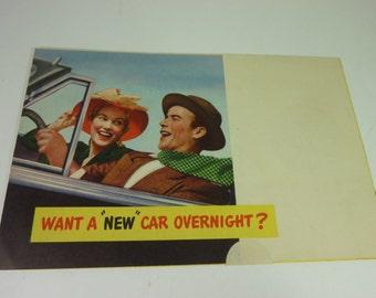 "1950s ""Want A New Car overnight? Brochure -still sealed"