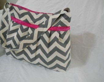 Large grey and pink chevron Diaper Bag,  CHEVRON diaper bag, mommy bag, nappy bag, bag, large bag