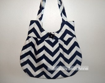 Navy blue chevron purse