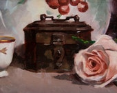 Original Still Life Painting in Oil by Catherine Bobkoski  Rose and Antiques