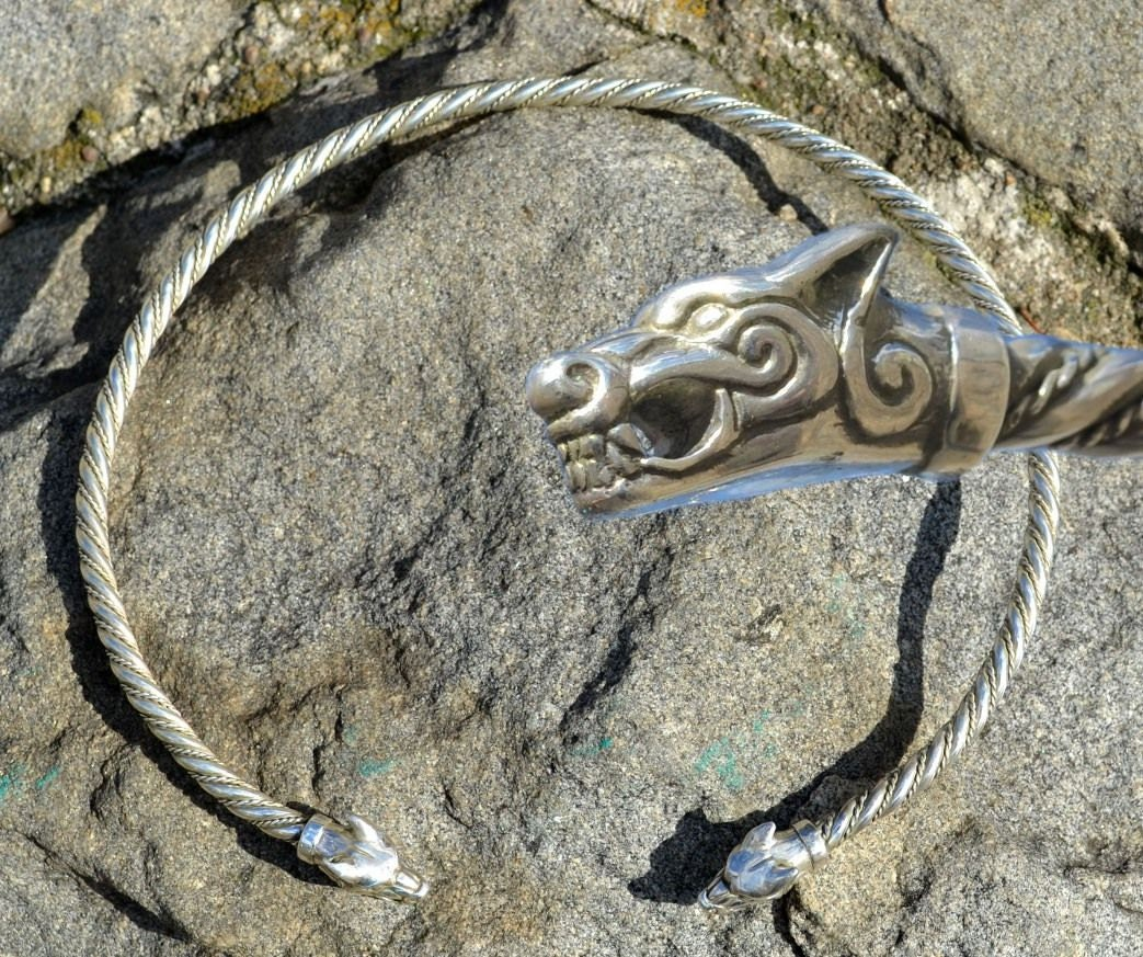 Sterling Silver Wolf Torc Necklace Torques Torq Viking Fenrir