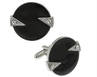 Whistler Cufflinks Round Silver Tone Crystal Black Enamel Round Cuff Links