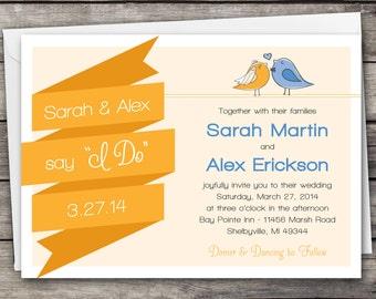 Love Birds Banner - Wedding Invitation Set - Digital Files
