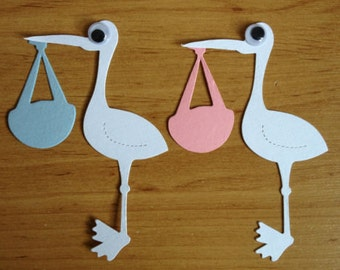 10 cute White Storks carrying Baby bundle die cuts for cards toppers cardmaking scrapbooking craft projects