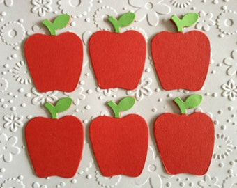 "10 red Apple die cuts for ""Thank you Teacher"" cards/toppers cardmaking scrapbooking - 1st day at school *pre assembled*"