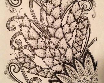 Hand Drawn Art Print, Flower Design, Pen Ink Drawing