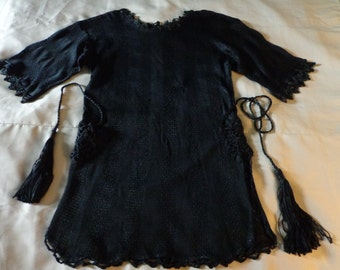 1920's  Sweater knitwear black silky knit crochet art deco.