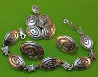 Elegant Sterling Silver set. Earrings, Necklace and Bracelet set.