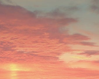 Stormy Sunset Color Photo Print { clouds, blue, orange, sky, yellow, pink, dusk, evening, wall art, macro, nature & fine art photography }