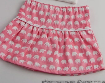 Girl's Skirt - Drop-Waisted - Pink with White Elephants