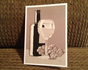 Blank Note Card with Wine Bottle Still Life on front